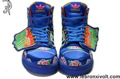 Buy New Adidas X Jeremy Scott Wings Embroidery Blue Shoes Fashion Shoes Shop
