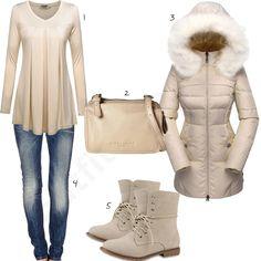 Beiges Herbst-Outfit für Damen mit Daunenjacke (w0642)