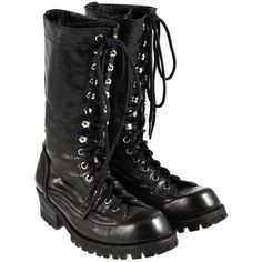 Pre-owned Tough combat boots ($620) ❤ liked on Polyvore featuring shoes, boots, ankle booties, black, combat boots, leather booties, real leather combat boots, black booties, black leather booties and military boots