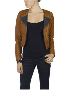 #JULE PU CROPPED JACKET, MOCHA BISQUE, main Only