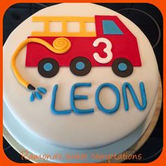 Vi… For Leon, the little fireman, Ramona has created this beautiful cake. Thank you very much for the photo! Fireman Sam Birthday Cake, Fireman Sam Cake, Toddler Birthday Cakes, 3rd Birthday Cakes, Fire Engine Cake, Fire Fighter Cake, Heart Shaped Cakes, Truck Cakes, Cakes For Boys