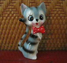 Polka bow tie kitty figurine!