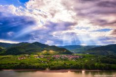 The view from the old abbey in Durnstein in the Wachau Valley wine region