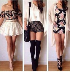 Floral inspired outfits. White skirt. Nude heels. Floral dress with black heels. Black shorts with white loose top and black heels w/ thigh-high socks.