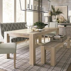 Ideas Farmhouse Dining Table Centerpiece Tips 6 Seater Dining Table, Farmhouse Dining Room Table, White Oak Dining Table, Table Bench, Dinning Table, Dining Rooms, Farmhouse Decor, Dining Chairs, Modern Room