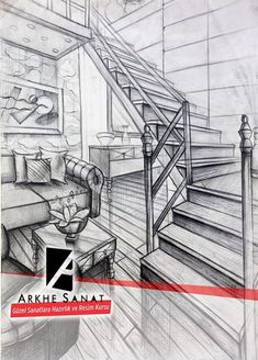 Pencil drawing interior perspective illustration of preparation for fine art. Perspective Drawing Lessons, Perspective Art, Architecture Design, Architecture Sketchbook, Drawing Interior, Interior Design Sketches, House Sketch, House Drawing, 3d Home