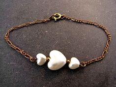Wristbands – Original vintage pearl heart bracelet – a unique product by VillaSorgenfrei on DaWanda