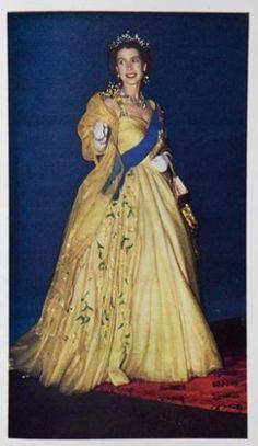 Queen Elizabeth in her golden wattle dress 1954