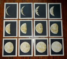 1892 moons set of 12 prints moon phases original antique celestial astronomy lithographs. $310.00, via Etsy.