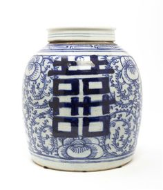 Lot 2475  A Chinese Blue and White Porcelain Ginger Jar,  19th century, decorated with shuangxi double happiness characters over a ground of...