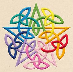 Earth, air, fire, water, and spirit are represented in this knotwork pentacle design.