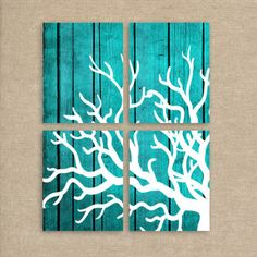 Coral Art Print. The turquoise background is terrific on this print.