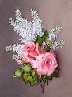 Red and White Silk Ribbon Roses - Salvabrani Ribon Embroidery, Ribbon Embroidery Tutorial, Embroidery Patterns, Machine Embroidery, Embroidery Thread, Ribbon Art, Ribbon Crafts, Floral Ribbon, Satin Flowers
