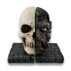 Creepy Half Zombie Half Skull Bookends Set of 2 * Learn more by visiting the image link.Note:It is affiliate link to Amazon.