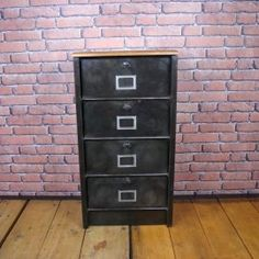 Industrial Strafor Filling Cabinet Clapet. Perfect for tidying up your bills or just to put your shoes in your hallway! Lovely wood top to add a Jielde lamp on it or your keys!  #LaBoutiqueVintage www.laboutiquevintage.co.uk