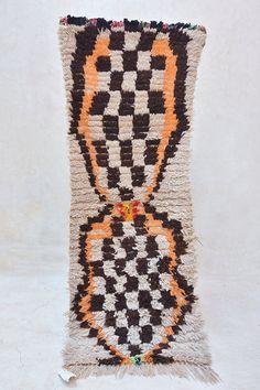 "DESERT PUNK 5'2"" x 1'11"" Boucherouite Rug. Tapis Moroccan Berber. Mid Century Modern Danish Design Compliment. ZA16-21"