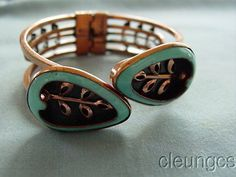 Vintage-Matisse-Renoir-Aqua-Copper-Enamel-Bracelet-Clamper-In-Book-1950s-Rare