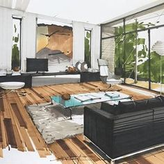 by for more daily sketchs Interior Architecture Drawing, Interior Design Renderings, Architecture Concept Drawings, Drawing Interior, Interior Design Boards, Interior Rendering, Interior Sketch, Interior And Exterior, Architecture Design