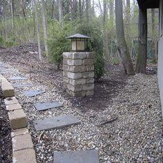 Stone Pillar Lighting   Light column with fixture
