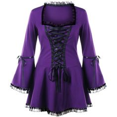 Purple 5xl Halloween Plus Size Lace Up Flare Sleeve Top ($16) ❤ liked on Polyvore featuring tops, laced up top, laced tops, flared sleeve top, lace up front top and lace up bell sleeve top