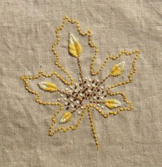 hand embroidered maple leaf