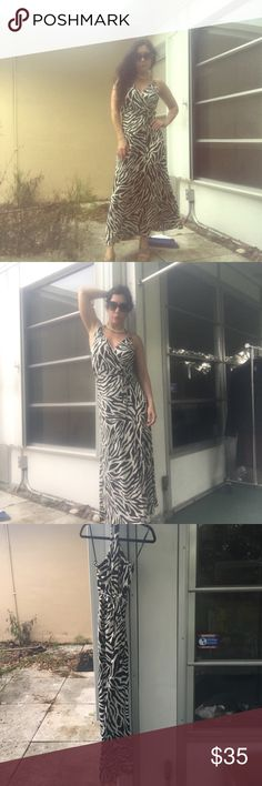 Zebra print dress size small Long dress, decent amount of stretch, toes at halter and tie at waist H&M Dresses Maxi