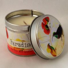 Paradise 200g eco soya wax candle  Top Notes: Cassis, Raspberry, Sweet Cherry  Heart Notes: Raspberry Leaf, Fig, Orris  Base Notes: Coconut, Creamy, Sandal, Cedarwood