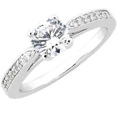 $519.99 - 1 Carat Diamond 14K White Gold Certified Engagement Ring