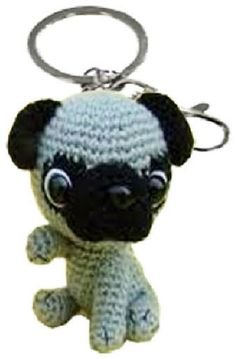 Adorable Pug - Hand crocheted organic cotton keychain / charm. Collect Them all!