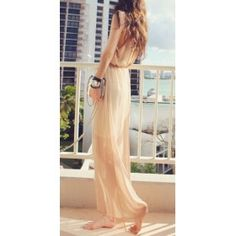 Chiffon Deep V Suspender Slim Maxi Dress