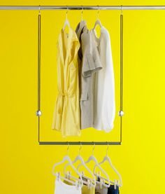 The Container Store > Dublet Adjustable Closet Rod Expander by Umbra®. I love how this is adjustable both ways and no assembly needed! Laundry Closet, Closet Rod, Space Saving Hangers, Hanging Closet, Clothing Storage, Closet Organization, Organizing, Container Store, Closet Space