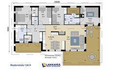 Modernitalo 136 H - Lakkapää Oy. Mukavaa sijoittelua makuuhuoneet ja khh, myös keittiö ja oh House Plans, Floor Plans, Flooring, Architecture, Sims, Dreams, Inspiration, Home Decor, Arquitetura