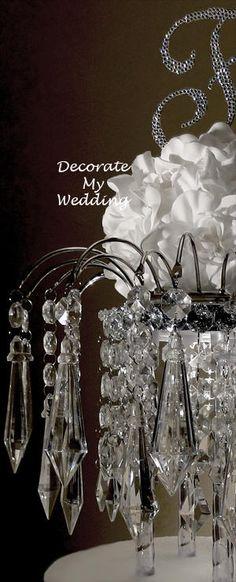 Wedding Decorations - Crystal Wedding Cake Topper with Diamond Pendants  DIAMOND DIVA