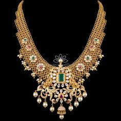 Traditional gold necklaces for women from the house of Kameswari. Shop for antique gold necklace, exquisite diamond necklace and more! Gold Temple Jewellery, Gold Jewellery Design, Designer Jewellery, India Jewelry, Latest Jewellery, Diamond Jewellery, Designer Wear, Gold Earrings Designs, Gold Designs