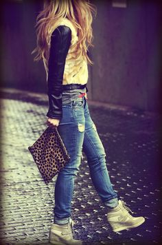 REITERATE. Clare vivier leopard, distressed denim, leather and fur jacket, wedged sneakers
