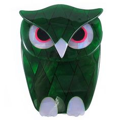 Lea Stein Owl Brooch Green  Purple by HarlequinMarketHQM on Etsy