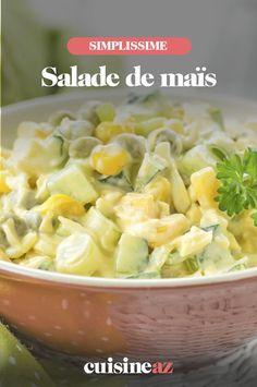 Cette recette de salade de maïs est pour 2 personnes. Une bonne idée d'entrée pour l'été, prête en 15 minutes ! #recette#cuisine#salade#mais #ete C'est Bon, Potato Salad, Macaroni And Cheese, Cabbage, Potatoes, Vegetables, Cooking, Ethnic Recipes, Food