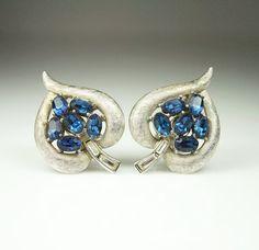 Vintage Trifari Earrings Sapphire Blue Rhinestone by zephyrvintage, $22.00 #vintagejewelry #trifarijewelry #vintageearrings