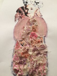 Look Three Collaged | Pink faux leather smock dress with pleated collar. Paired with oversized calico flower coat that will be hand dyed.