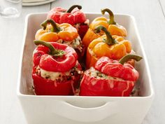 Get Turkey-and-Rice Stuffed Peppers Recipe from Food Network