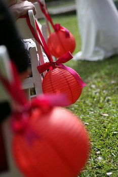 Wedding, Ceremony, Red, Decorations, Lanterns, Aisle, Paper