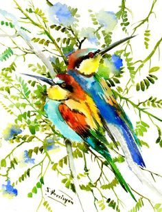 Buy European Bee Eaters, Watercolours by Suren Nersisyan on Artfinder. Discover thousands of other original paintings, prints, sculptures and photography from independent artists.
