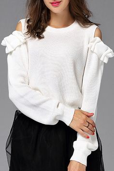 Flounced Cold Shoulder Sweater