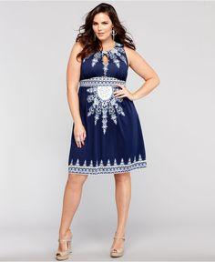 INC International Concepts Plus Size Dress, Sleeveless Printed Empire-Waist - Plus Size Dresses - Plus Sizes - Macy's