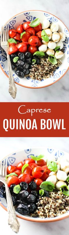 This Caprese inspired quinoa bowl is the ultimate healthy meal. If you have cooked quinoa in your fridge, you can put this easy recipe together in just a few minutes. Made with cherry tomatoes, soft fresh cheese, olives, and basil, this meal is perfect for lunch or dinner. This quinoa bowl is vegetarian and gluten-free. #vegetarian #recipe #quinoa #caprese #healthy #realfood #meatless