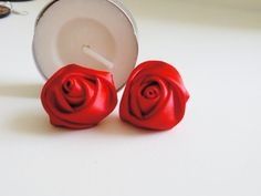 Rich Red Ribbon Rose of Love Stud Earring Lovely by muiwish, $4.50