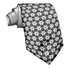 Hexagon Black & White Pattern Fashion neck Tie