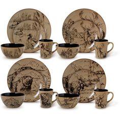 Dinnerware Dinner Set Stoneware Plates Bowls Mugs Mossy Oak Country 16 Piece New #DinnerwareDinnerSet