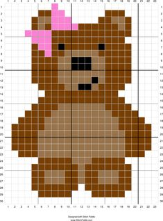 Stitch Fiddle is an online crochet, knitting and cross stitch pattern maker. Stitch Fiddle is an online crochet, knitting and cross stitch pattern maker. Cross Stitch Bookmarks, Cross Stitch Baby, Cross Stitch Animals, Crochet Bear Patterns, Quilt Patterns, Knitting Patterns, Teddy Bear Quilt Pattern, Pixel Crochet Blanket, Baby Blanket Crochet
