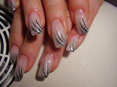 Silver and black Simple Nail Art Designs, Colorful Nail Designs, Nail Polish Designs, Cute Nail Designs, Nails Design, Art Deco Nails, Vacation Nails, French Nail Art, Pretty Nail Art
